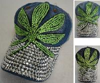 Denim Hat with Bling *Silver [Green Leaf]